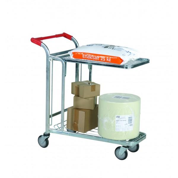 Chariot de magasin et entrepôt Diamètre des roues (mm) 125 Charge admissible (Kg) 300 Référence CHARIOT 57250 Dimensions (LxlxH) en mm 1030*530*1020 Poids (Kg) 22