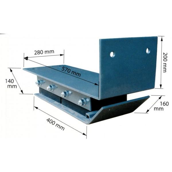 Tampon de quai / la paire Poids (Kg) 70 Référence AB01 (la paire) Largeur (mm) 280 Longueur totale (mm) 730 Hauteur (mm) 140