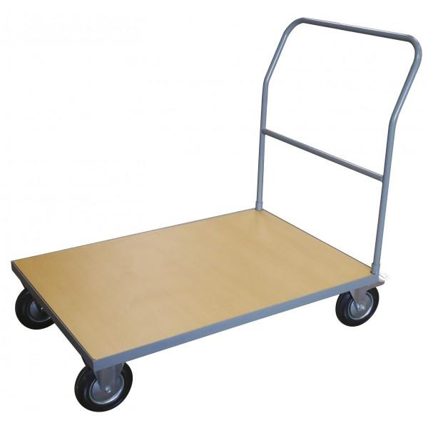 Chariot 500 kg plateau bois Charge admissible (Kg) 500 Poids (Kg) 25 Référence WP50A/1 Dimensions plateau (mm) 1000*700 Dimensions (LxlxH) en mm 1050*700*1100