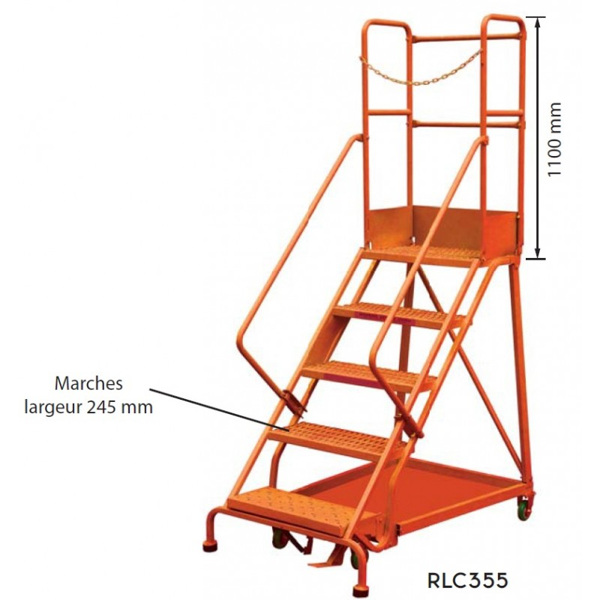 Escabeaux de sécurité Référence RLC354 Nombre de marches 4 Hauteur plateforme 1020 Dimensions (LxlxH) en mm 1220*880*2100 Poids (Kg) 57