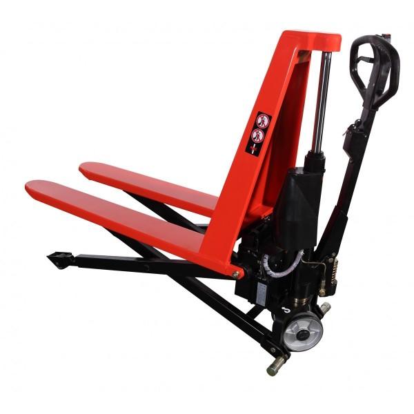 Transpalette haute levée électrique Charge admissible (Kg) 1000 Hauteur élévation (mm) 85 / 800 Longueur fourches 1190 Largeur (mm) 560 Poids (Kg) 159 Référence HB1056EN