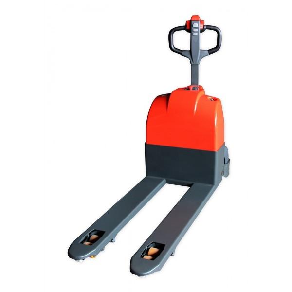 Transpalette électrique compact Charge admissible (Kg) 1500 Longueur fourches 1150 Largeur (mm) 560 Référence SEPT15W Poids (Kg) 190 Longueur totale (mm) 1648 Hauteur élévation (mm) 85 / 200