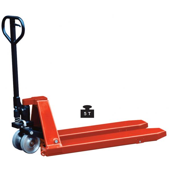 Transpalette 5T manuel Longueur fourches 1150 Charge admissible (Kg) 5000 Référence HP50S Poids (Kg) 192 Hauteur élévation (mm) 90 / 200 Largeur (mm) 580 Diamètre des roues (mm) 200*50 acier