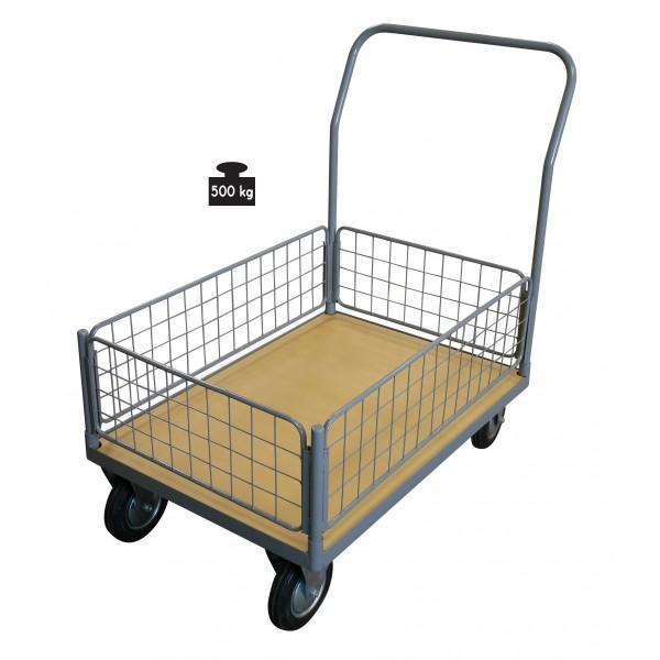 Chariot avec ridelle basses grillagées et plateau bois Charge admissible (Kg) 250 Poids (Kg) 41 Dimensions plateau (mm) 1000*700 Dimensions (LxlxH) en mm 1200*700*1170 Référence WPG25I