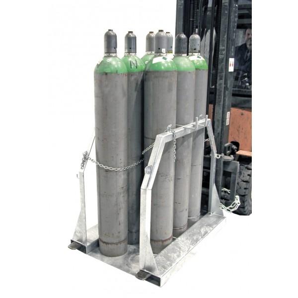 Palette pour bouteilles de gaz Poids (Kg) 55 Charge admissible (Kg) 350 Référence SFP 4 Dimensions (LxlxH) en mm 500*860*1080 Dim. intér. fourreaux PxH (mm) 170*70 Capacité max 4 bouteilles diam 250 mm