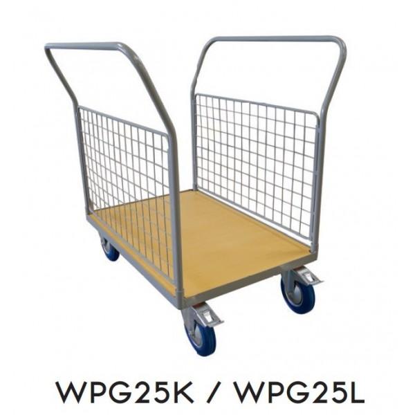 Chariot double timon grillagé sur la longueur Charge admissible (Kg) 250 Dimensions plateau (mm) 1000*700 Poids (Kg) 43 Référence WPG25K Dimensions (LxlxH) en mm 1000*780*1170