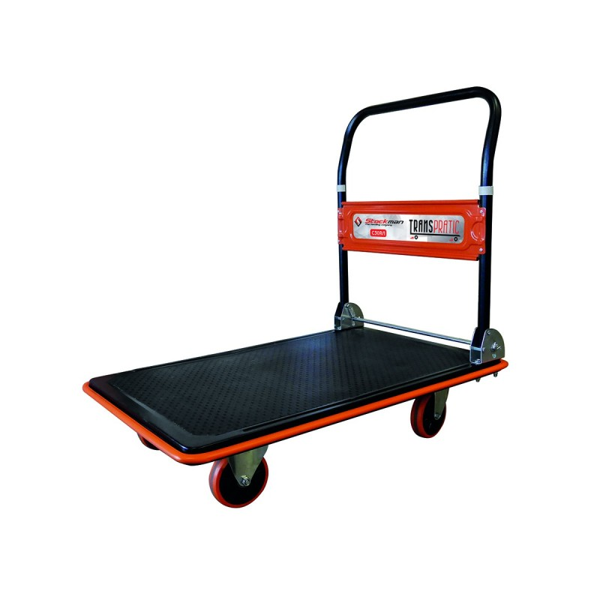 Chariot timon rabattable Charge admissible (Kg) 150 Poids (Kg) 8 Référence C15R/1 Dimensions plateau (mm) 724*465*225 Hauteur plateforme 120 Hauteur Timon (mm) 810