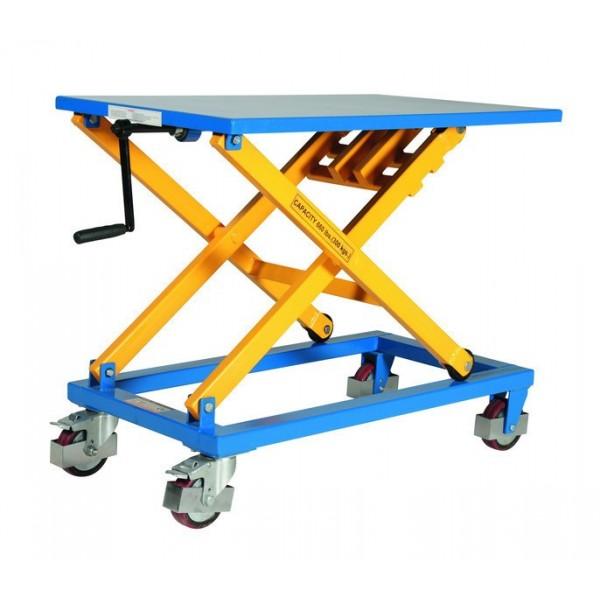 Table élévatrice mobile à manivelle LBM Charge admissible (Kg) 300 Référence LBM 300 Dimensions plateau (mm) 950 x 600 Hauteur élévation (mm) 450 / 1050 Poids (Kg) 70