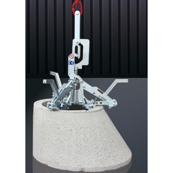 Grappin à regard et cône DIN 4034-1 et 2 Poids (Kg) 80 Charge admissible (Kg) 2500 Matière Acier Type surface Striée Référence 1067.1 Plage de serrage 625 - 1500