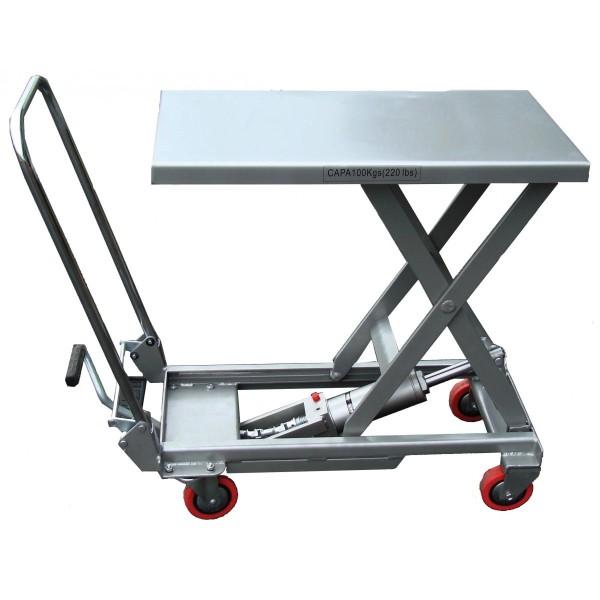 Table élévatrice Alu mobile manuelle Charge admissible (Kg) 100 Référence BAL100 Dimensions plateau (mm) 400*700 Hauteur élévation (mm) 215 / 730 Poids (Kg) 26
