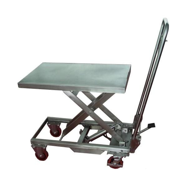 Table élévatrice mobile manuelle inox Dimensions plateau (mm) 700x450 Charge admissible (Kg) 100 Référence MH-V10 Hauteur élévation (mm) 265 / 755 Poids (Kg) 40