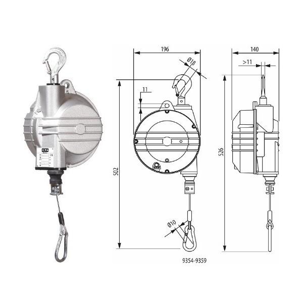 Equilibreur de charge Poids (Kg) 5 Référence 9354 Charge admissible (Kg) 4.0-7.0 Long. chaine cable 2m Hauteur (mm) 526