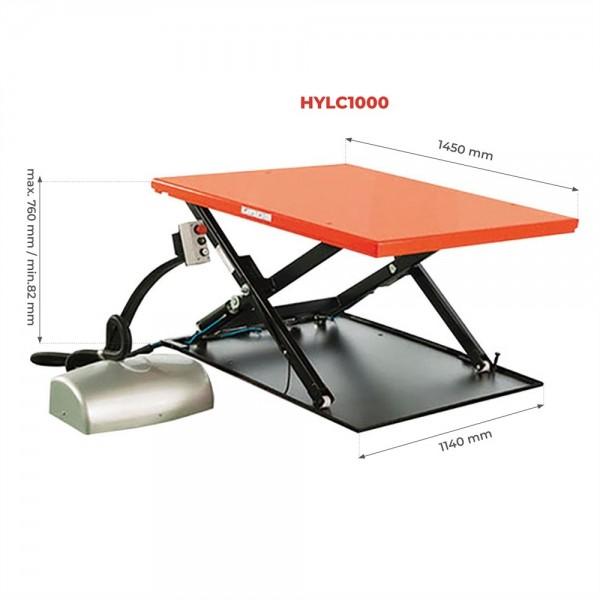 Table élévatrice extra plate Charge admissible (Kg) 1000 Alimentation 380 V Référence HYLC1000 Dimensions plateau (mm) 1450*1140 Hauteur élévation (mm) 82 / 760 Poids (Kg) 250 Type Avec rampe
