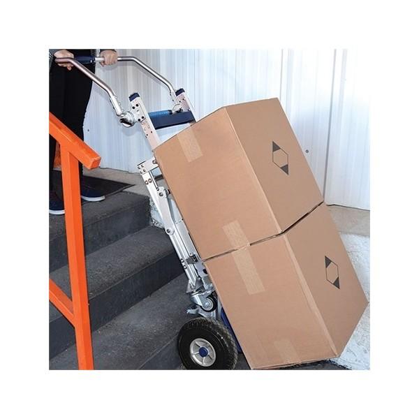 Diable monte-escalier électrique DMEG Poids (Kg) 24 Largeur (mm) 520 Référence DMEG170 Charge admissible (Kg) 170 Hauteur (mm) 1590