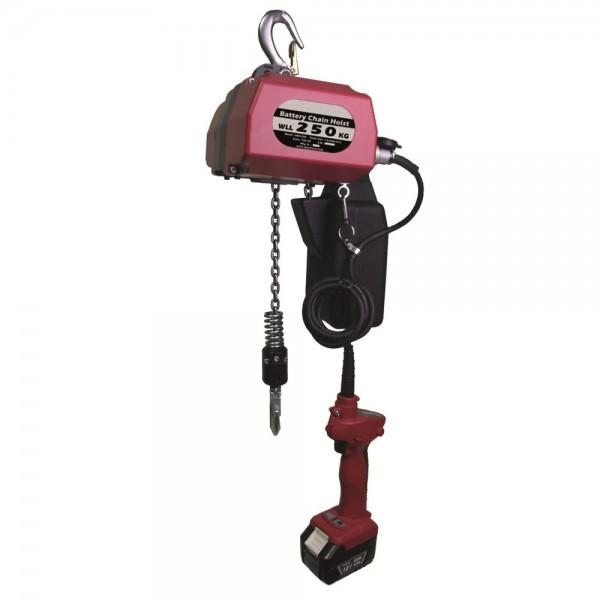 Palan à batterie Charge admissible (Kg) 250 Poids (Kg) 8 Référence CZ.0.DBH.250 Hauteur élévation (mm) 10000 Alimentation batterie 18v