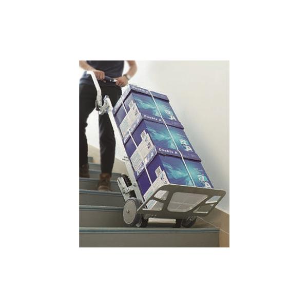 Diable monte-escalier à chenille électrique 70 kg Poids (Kg) 14 Référence DCE070 Charge admissible (Kg) 70 Dimensions (LxlxH) en mm 14450x440x1400 Dimensions plié (Lxlxh) mm 450x170x1000