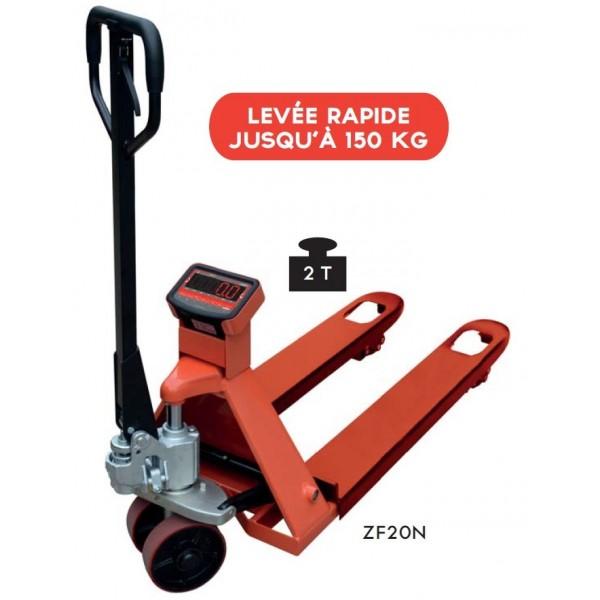 Transpalette peseur 2000 Kg Charge admissible (Kg) 2000 Longueur fourches 1150 Précision de la pesée +/- 0.1% Poids (Kg) 94 Référence ZF20N Imprimante non